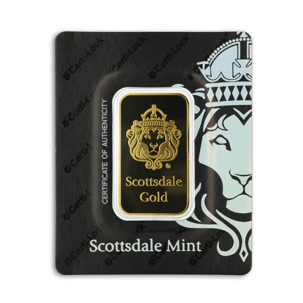1 oz Lingotin Or Pur Scottsdale Mint Lion Gold Fine Gold Bar .9999