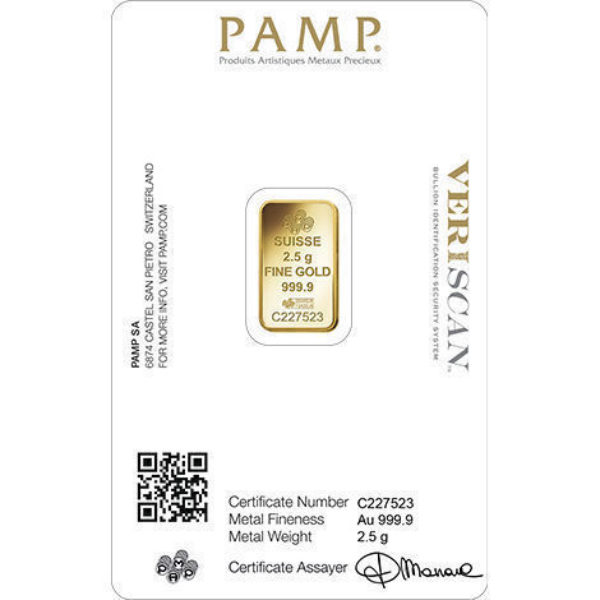 2.5 gr Lingotin Or Pur PAMP Suisse Veriscan Lady Fortuna Fine Gold Bar .9999