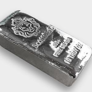 10 X 10 oz Lingotin Argent Pur Scottsdale Mint Fine Silver Chunky Poured Bar .999