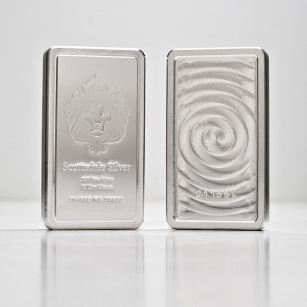10 X 10 oz Lingotin Argent Pur Scottsdale Mint Stacker Fine Silver Bar .999