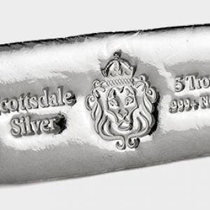 20 X 5 oz Lingotin Argent Pur Scottsdale Mint Fine Silver Cast Bar .999