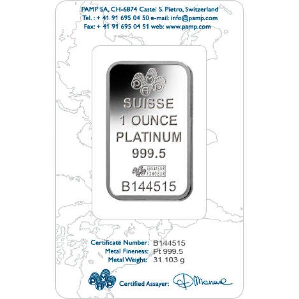 1 oz Lingotin Platine Pur PAMP Suisse Lady Fortuna Fine Platinum Bar .9995