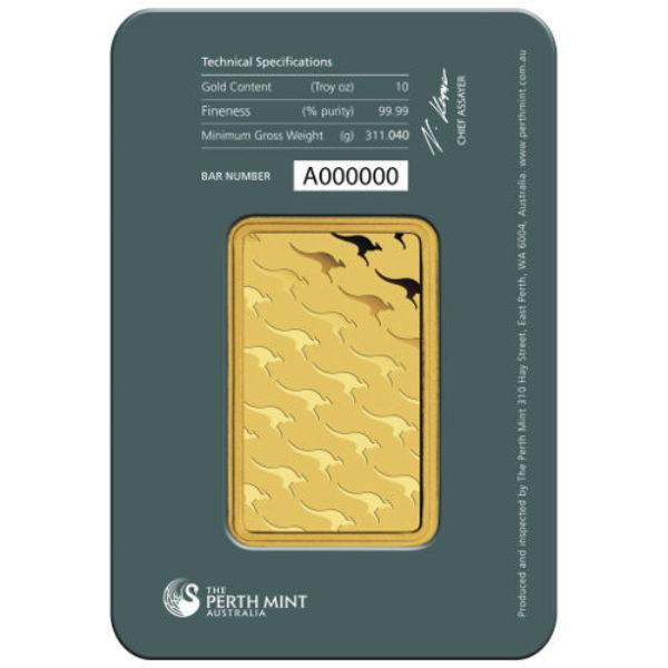 10 oz Lingotin Or Pur Australie Perth Mint Australia Fine Gold Bar .9999