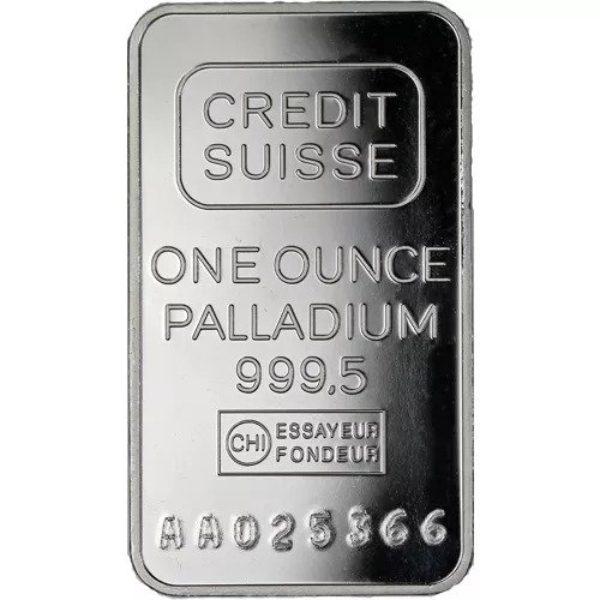 1 oz Lingotin Palladium Pur Crédit Suisse Fine Palladium Bar .9995