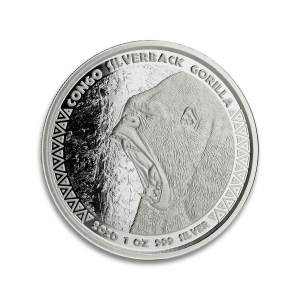 100 X 1 oz Pièce Argent Pur République du Congo Gorille Dos Argenté SilverBack Gorilla Republic of Congo Fine Silver Coin .9999 2020