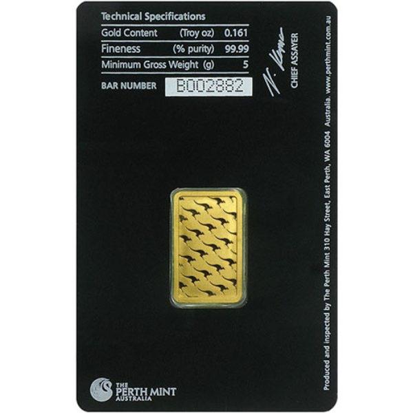 5 gr Lingotin Or Pur Australie Perth Mint Australia Fine Gold Bar .9999