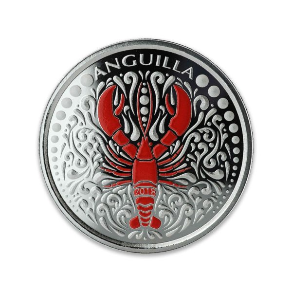 1 oz Pièce Argent Pur Homard Anguilla Lobster Eastern Caribbean Central Bank Fine Silver Coin Proof .999 2018