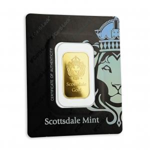 10 gr Lingotin Or Pur Scottsdale Mint Fine Gold Bar .9999