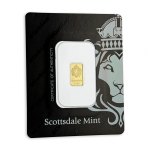 1 gr Lingotin Or Pur Scottsdale Mint Fine Gold Bar .9999