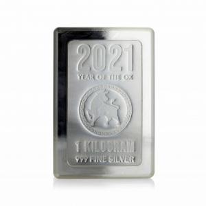 1 kg Lingot Argent Pur Année Lunaire du Boeuf Heraeus Kilogram Stacker LBMA Lunar Year of The Ox Fine Silver Bar .999 2021