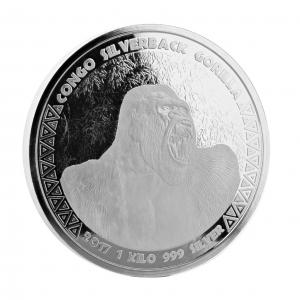 1 Kg Pièce Argent Pur République du Congo Gorille Kilo Gorilla Fine Silver Coin .999 2017